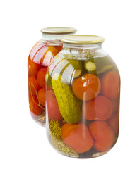 Marinated tomatoes and cucumbers, canned bank