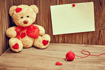 Valentines Day. Teddy Bear Loving with hearts. Love. Retro.
