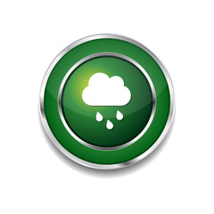 Rain Cloud Green Vector Icon Button
