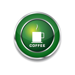 Coffee Sign Green Vector Icon Button