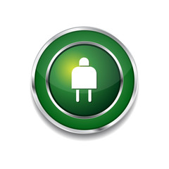 Plug Sign Green Vector Icon Button