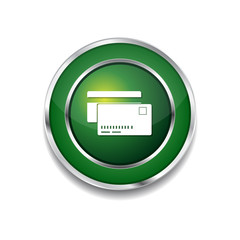 Credit Cards Green Vector Icon Button