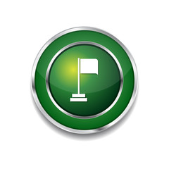 Flag Sign Green Vector Icon Button