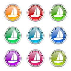 boat colorful web icons vector set