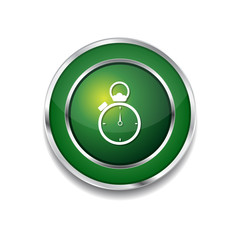 Stop Watch Green Vector Icon Button