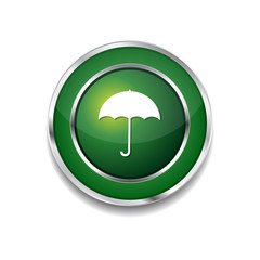 Umbrella Green Vector Icon Button