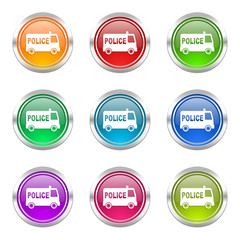 police colorful web icons vector set