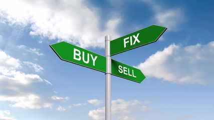 Buy fix sell signpost against blue sky