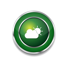 Sunny Cloud Green Vector Icon Button