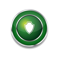 Shield Sign Green Vector Icon Button