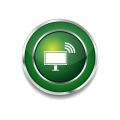 Pc Network Green Vector Icon Button