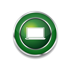 Laptop Green Vector Icon Button