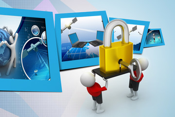 3D people  holding a   padlock