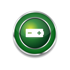 Battery Green Vector Icon Button