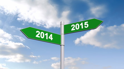 2014 and 2015 signpost against blue sky