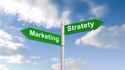 Marketing strategy signpost against blue sky
