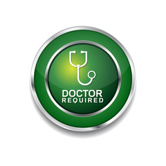 Doctor Required Green Vector Icon Button