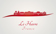 Le Havre skyline in red
