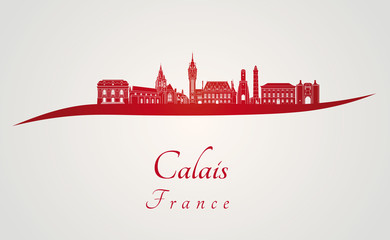 Calais skyline in red