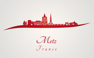 Metz skyline in red