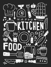 Cuisine éléments doodles main ligne tracée icône, eps10