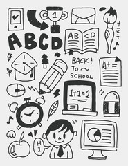 Education elements doodles hand drawn line icon,eps10