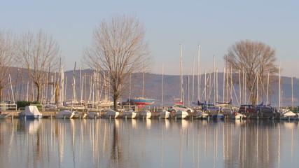 Boats moored at the lake shore