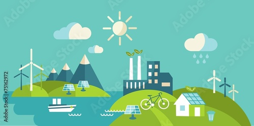 Landscape with buildings, transport and nature ecology elements - 75162972