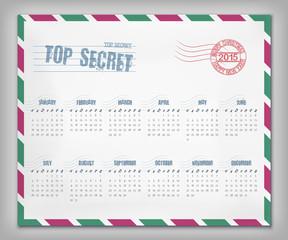 Calendar with postal envelope on 2015 in vector