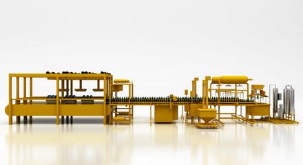 Imbottigliamento in fabbrica, 3d, acqua