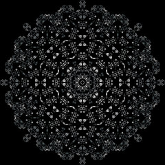 abstract gothic symmetric pattern on black background vector