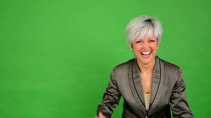 business woman rejoices (joy) - green screen