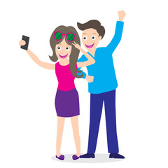 young couple using a smart phone take selfie picture themselves