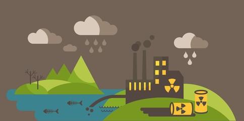 Landscape with environmental contamination.