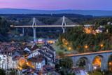 View of Poya and Zaehringen bridge, Fribourg, Switzerland, HDR - 75165358