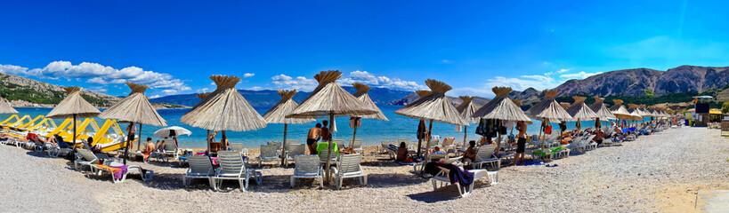 Idyllic beach in Baska panorama