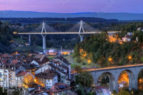 Plexiglas Brug View of Poya and Zaehringen bridge, Fribourg, Switzerland, HDR
