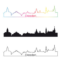 Dresden skyline linear style with rainbow