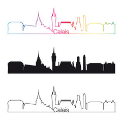 Calais skyline linear style with rainbow