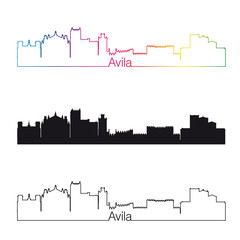 Avila skyline linear style with rainbow