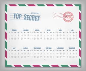 Calendar with postal envelope on 2016 in vector