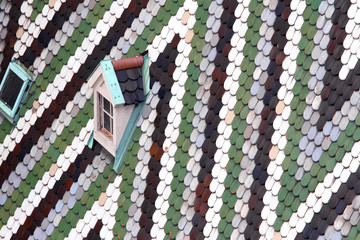 Roof with tiles in majolica and ceramics of the Cathedral of St.