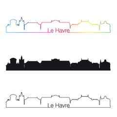 Le Havre skyline linear style with rainbow