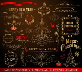 Christmas decoration collection . Set of calligraphic and
