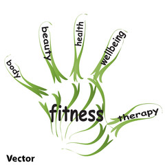 Vector hand print health concept text