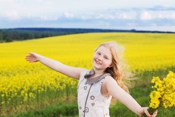Cute funny girl on rape field