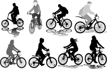 Set of 8 silhouettes of the cyclist