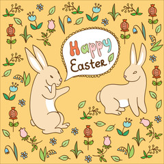 Easter rabbits on a flower background (vector)