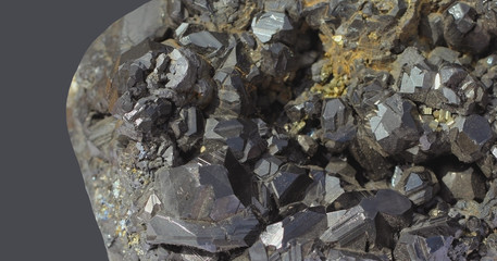 Mineral hematite on a gray background