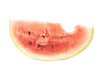 Bitten watermelon piece slice, isolated